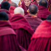 Monk of the Yellow Hat Sect taking examination, Labrang Monastery, Xiahe, Gansu, China