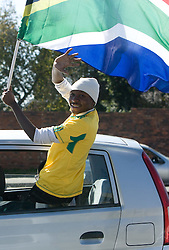 Fans of South Africa's team Bafana Bafana at streets on June 9, 2010 in Johannesburg, South Africa.  (Photo by Vid Ponikvar / Sportida)