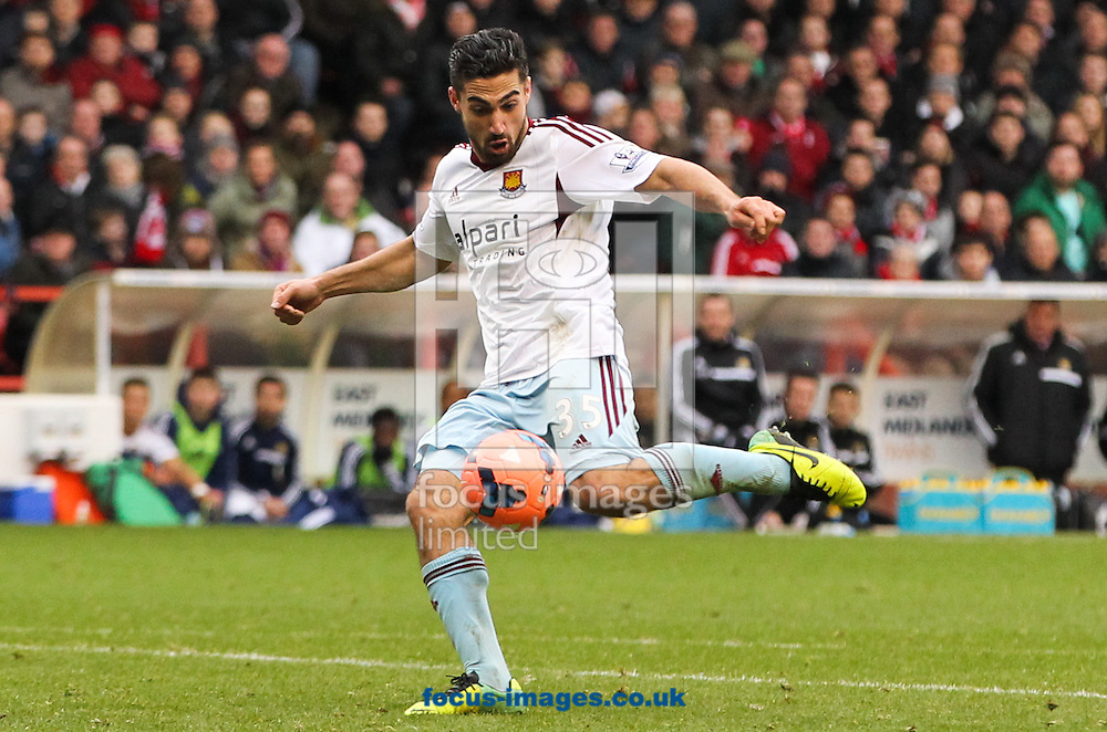 Picture by Tom Smith/Focus Images Ltd 07545141164<br /> 05/01/2014<br /> Sebastian Lletget of West Ham United shapes up to shoot during the The FA Cup match at the City Ground, Nottingham.