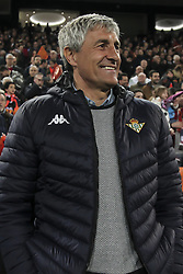February 28, 2019 - Valencia, Spain - Head coach   of Real Betis Balompie Quique Setien before Spanish King La Copa match between  Valencia cf vs Real Betis Balompie Second leg  at Mestalla Stadium on February 28, 2019. (Photo by Jose Miguel Fernandez/NurPhoto) (Credit Image: © Jose Miguel Fernandez/NurPhoto via ZUMA Press)