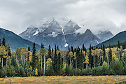 Mount Robson in clouds, Canadian Rockies, British Columbia, Canada. Mount Robson Provincial Park.