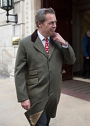 © Licensed to London News Pictures. 08/12/2017. London, UK. Former UKIP Leader NIGEL FARAGE is leaving Milbank Studio in Westminster after a television interview.  Progress has been made in Brussels on Brexit negotiations with the EU, with an agreement made on the handling of the Irish border. Photo credit: Ben Cawthra/LNP