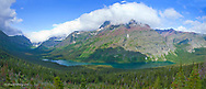 Panoramic view of Elizabeth and Helen Lakes with Natoas Peak in Glacier National Park in Montana
