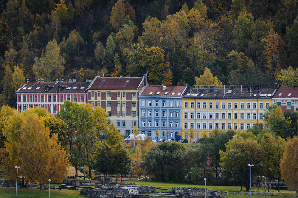 Oslo, Norway, October 2012: Colorful buildings in Oslo suburbs with a rich autumn coloured forest behind