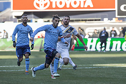 March 11, 2018 - New York, New York, United States - David Villa (7) of NYC FC chases ball during regular MLS game against LA Galaxy at Yankee stadium NYC FC won 2 - 1  (Credit Image: © Lev Radin/Pacific Press via ZUMA Wire)