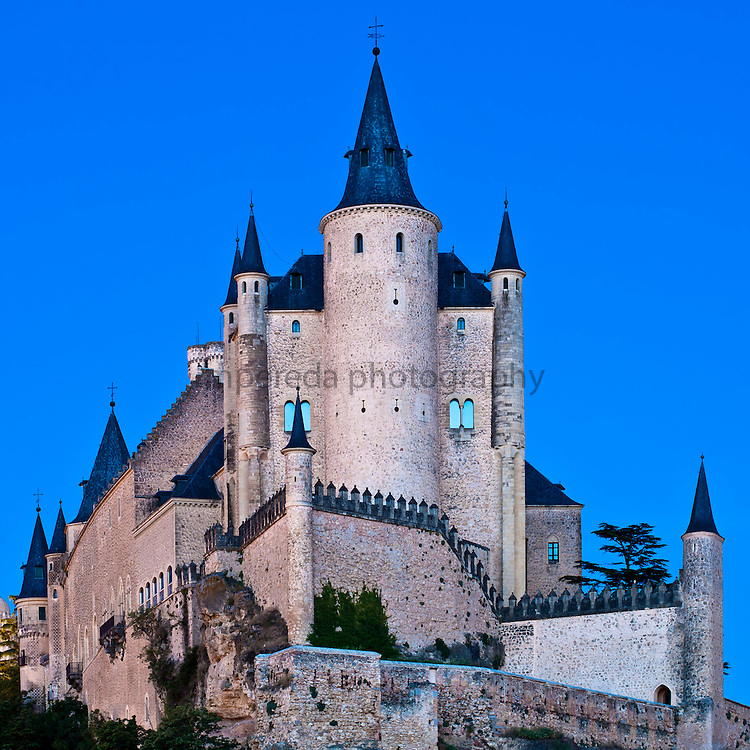 The Alcázar of Segovia, a stone fortification, located in the old city of Segovia, Spain.