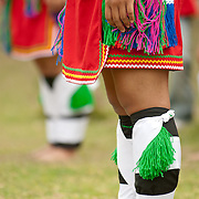 Close up of colorful Amis tribe leggings prior to performance at Taiwanese Aboriginal Festival dance performance, Tainan. March 31, 2008
