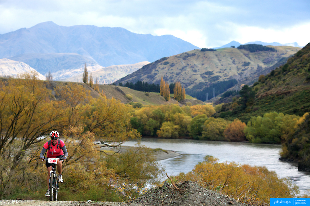 Silvia Scheidl in action during the New World Tour de Wakatipu bike race on Saturday. Six hundred and ninety people entered the bike race which featured an  exclusive course with breathtaking views from Millbrook Resort in Arrowtown to Chard Farm along the Kawarau River, via the trails and tracks of the Wakatipu basin with distances of 36 kilometres fun riding for recreational bikers and 45 kilometres for elite and sport racers. The event was part of the inaugural Queenstown Bike Festival, which took place from 16th-25th April. The event hopes to highlight Queenstown's growing profile as one of the three leading biking centres in the world. Queenstown, Central Otago, New Zealand. 23rd April 2011. Photo Tim Clayton..