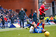 Rangers Manager Steven Gerrard  is angry with another clumsy challenge on one of his players during the Ladbrokes Scottish Premiership match between Rangers and Kilmarnock at Ibrox, Glasgow, Scotland on 16 March 2019.