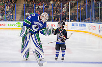 PENTICTON, CANADA - SEPTEMBER 16: Thatcher Demko #35 of Vancouver Canucks fist pumps the seventh player of the game against the Edmonton Oilers on September 16, 2016 at the South Okanagan Event Centre in Penticton, British Columbia, Canada.  (Photo by Marissa Baecker/Shoot the Breeze)  *** Local Caption *** Thatcher Demko;