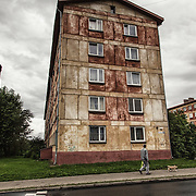 Architecture dating back to the Soviet empire in Narva; the city has almost totally been destroyed during the last years of the second world war and rebuilded during the Soviet period