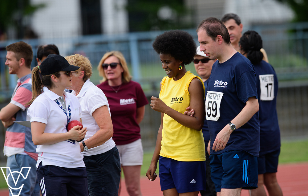 Metro Blind Sport's 2017 Athletics Open held at Mile End Stadium.  Shot put.  Vanja Sudar with guide <br /> <br /> Picture: Chris Vaughan Photography for Metro Blind Sport<br /> Date: June 17, 2017