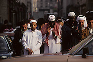 France. Paris. 11th district. Omar mosk, prayer in front of the mosk in JP Thimbaud street  /mosque Omar, priere dans rue JP thimbaud