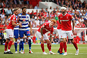 Man of the match Nottingham Forest defender Danny Fox (4) shouts orders during the EFL Sky Bet Championship match between Nottingham Forest and Reading at the City Ground, Nottingham, England on 11 August 2018.
