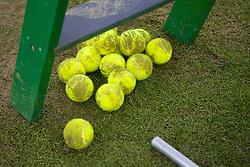 Liverpool, England - Saturday, June 16, 2007: Muddy Tennis balls on day five of the Liverpool International Tennis Tournament at Calderstones Park. For more information visit www.liverpooltennis.co.uk. (Pic by David Rawcliffe/Propaganda)