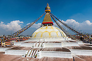 a single tourist on the Boudhanath stupa in Kathmandu, Nepal.