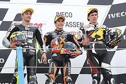 30.06.2012. Circuit Assen, NED, MotoGP, Iveco TT Assen, Moto 2, im Bild A. Iannone, M. Marquez and S. Redding // during the MotoGP of Iveco TT Assen, Moto 2, at the Circuit Assen, Netherlands on 2012/06/30. EXPA Pictures © 2012, PhotoCredit: EXPA/ Insidefoto/ Semedia..***** ATTENTION - for AUT, SLO, CRO, SRB, SUI and SWE only *****