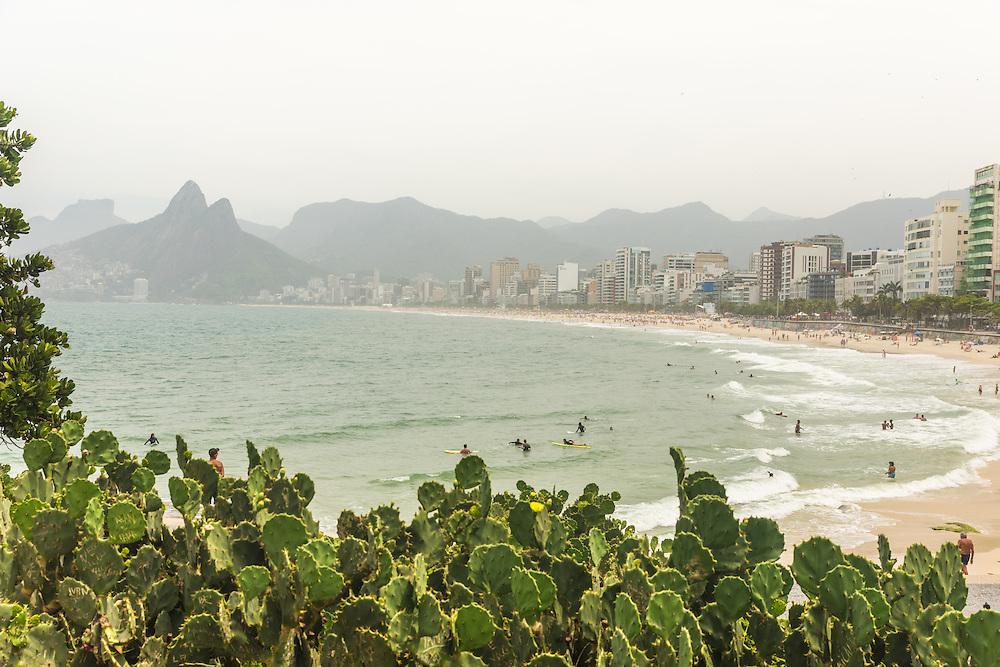 Ipanema beach seen from arpoador, Rio de Janeiro, Brazil.