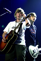 Busted play their biggest venue of their career to date at The Hallam FM Arena 2004   James Bourne and Charlie Simpson. <br /> image copyright Paul David Drabble<br /> 7th March 2004