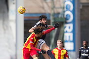 17th February 2018, Firhill Stadium, Glasgow, Scotland; Scottish Premier League Football, Partick Thistle versus Dundee; Sofien Moussa of Dundee annd Mustapha Dumbuya of Partick Thistle