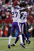 Minnesota Vikings strong safety Jayron Kearse (27) leaps and celebrates with Vikings cornerback Mackensie Alexander (20) after Alexander intercepts a second quarter pass and runs it back for a gain of 10 yards during the 2017 NFL week 10 regular season football game against the Washington Redskins, Sunday, Nov. 12, 2017 in Landover, Md. The Vikings won the game 38-30. (©Paul Anthony Spinelli)