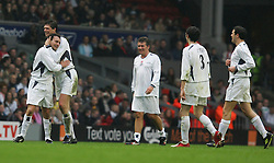 LIVERPOOL, ENGLAND - SUNDAY MARCH 27th 2005: Celebrity XI's Stephen Fletcher celebrates scoring against the Liverpool Legends with team-mate Niall Quinn during the Tsunami Soccer Aid match at Anfield. (Pic by David Rawcliffe/Propaganda)