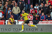 Goal Millwall forward Tom Bradshaw (9) scores a goal and celebrates 0-1 during the EFL Sky Bet Championship match between Brentford and Millwall at Griffin Park, London, England on 19 October 2019.