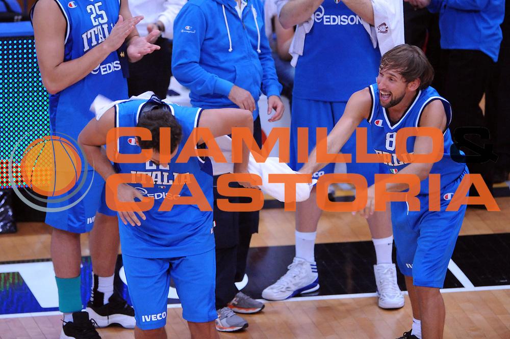 DESCRIZIONE : Trento Trentino Basket Cup Italia Polonia<br /> GIOCATORE :  Giuseppe Poeta Marco Belinelli<br /> CATEGORIA : Esultanza<br /> SQUADRA : Nazionale Italia Maschile<br /> EVENTO :  Trento Trentino Basket Cup<br /> GARA : Italia Polonia<br /> DATA : 09/08/2013<br /> SPORT : Pallacanestro<br /> AUTORE : Agenzia Ciamillo-Castoria/Max.Ceretti<br /> Galleria : FIP Nazionali 2013<br /> Fotonotizia : Trento Trentino Basket Cup Italia Israele<br /> Predefinita :