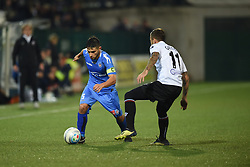 November 3, 2018 - Vercelli, Italy - Italian midfielder Nicolas Schiavi from Novara Calcio team playing during Saturday evening's match against Pro Vercelli team valid for the 10th day of the Italian Lega Pro championship and Italian midfielder Leonardo Gatto from Pro Vercelli team playing during Saturday evening's match against Novara Calcio valid for the 10th day of the Italian Lega Pro championship  (Credit Image: © Andrea Diodato/NurPhoto via ZUMA Press)