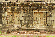 Exterior of the wall of the Bakong temple ruin in Siem Reap, Cambodia.
