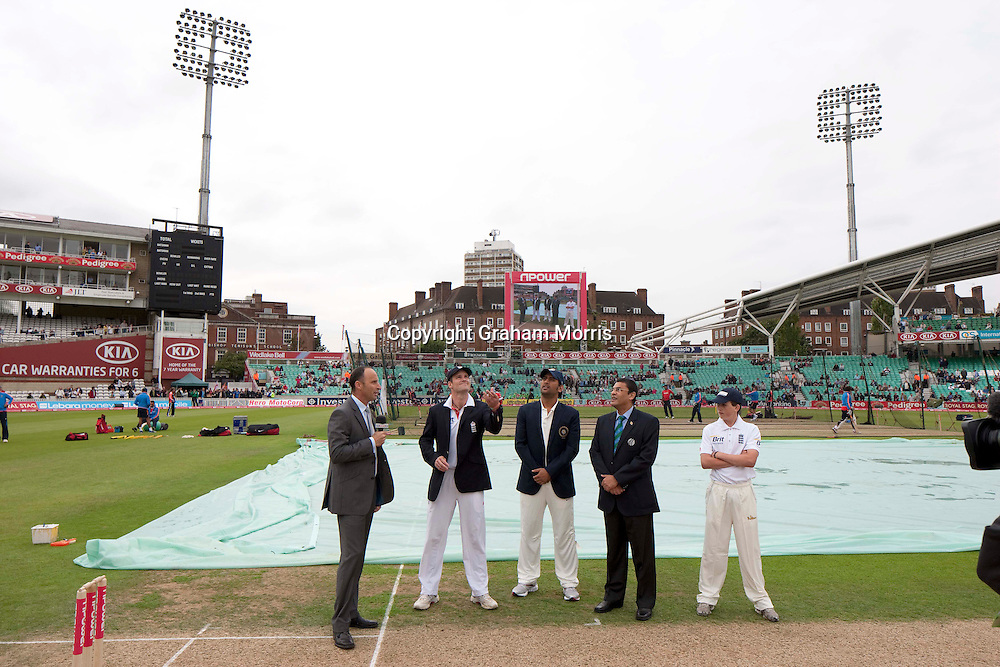 The toss before the fourth and final npower Test Match between England and India at the Oval, London.  Photo: Graham Morris (Tel: +44(0)20 8969 4192 Email: sales@cricketpix.com) 18/08/11