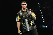 Daryl Gurney wins the match and celebrates during the PDC Premier League Darts at Arena Birmingham, Birmingham, United Kingdom on 25 April 2019.
