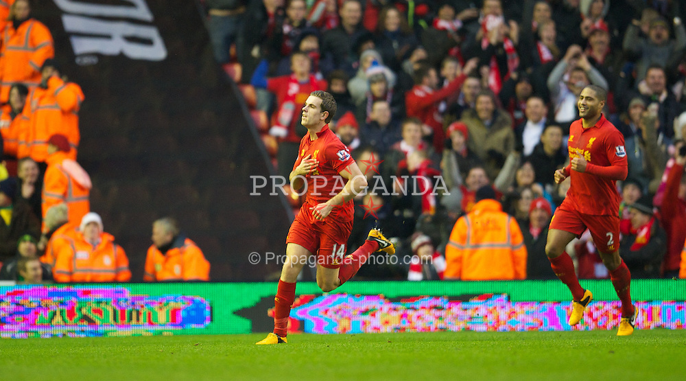 LIVERPOOL, ENGLAND - Saturday, January 19, 2013: Liverpool's Jordan Henderson celebrates scoring the first goal against against Norwich City during the Premiership match at Anfield. (Pic by David Rawcliffe/Propaganda)