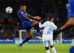 Danny Simpson of Leicester City challenges Jose Izquierdo of Club Brugge - Mandatory by-line: Matt McNulty/JMP - 22/11/2016 - FOOTBALL - King Power Stadium - Leicester, England - Leicester City v Club Brugge - UEFA Champions League