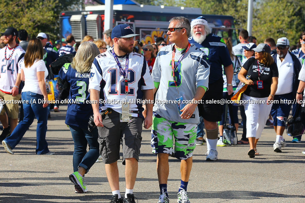 01 FEB 2015:  Patriots and Seahawks fans outside University of Phoenix Stadium in Glendale Arizona prior to Super Bowl XLIX, The game is between the Seattle Seahawks and the New England Patriots.