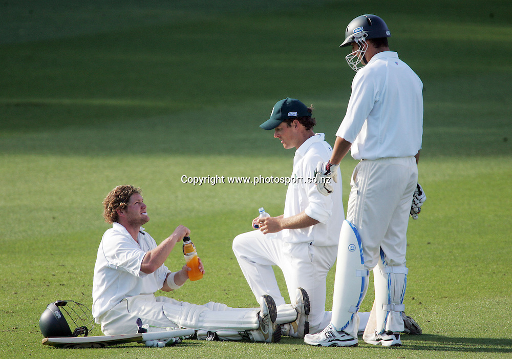 Injured batsman Tim Weston on day 4 of the State Championship cricket match between the Auckland Aces and the Central Stags at Eden Park, Auckland, New Zealand on Thursday 8 March 2007. Photo: Hannah Johnston/PHOTOSPORT<br /> <br /> <br /> <br /> 080307