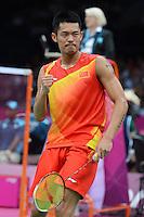 Lin Dan, China, Celerates Victory over Indonesia's Taufik Hidayat, Mens singles, Olympic Badminton London Wembley 2012