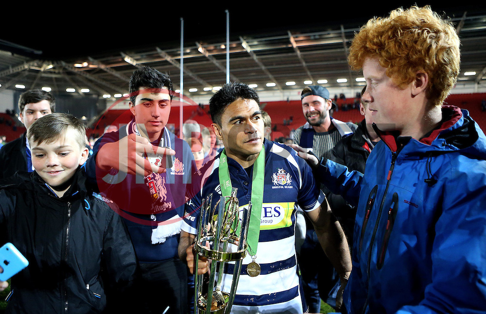 Bristol Rugby Winger David Lemi (capt) celebrates winning the Greene King IPA Championship with the fans and trophy - Mandatory byline: Robbie Stephenson/JMP - 25/05/2016 - RUGBY UNION - Ashton Gate Stadium - Bristol, England - Bristol Rugby v Doncaster Knights - Greene King IPA Championship Play Off FINAL 2nd Leg.
