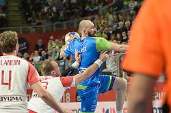 Vid Kavticnik of Slovenia during handball match between National teams of Slovenia and Denmark on Day 2 in Main Round of Men's EHF EURO 2018, on January 19, 2018 in Arena Varazdin, Varazdin, Croatia. Photo by Mario Horvat / Sportida