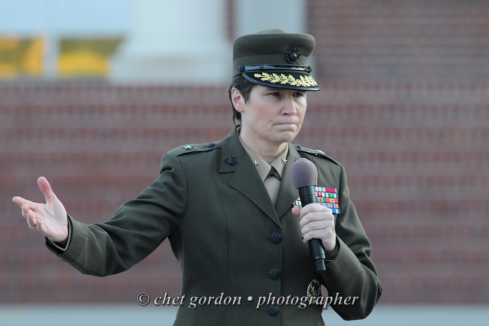 Brigadier General Lori Reynolds, Commanding General of the Eastern Recruiting Region, speaks to Marines and civilians after the morning flag raising ceremony outside her headquarters at the Marine Corps Recruit Depot (MCRD) in Parris Island, SC on Friday, March 15, 2013.
