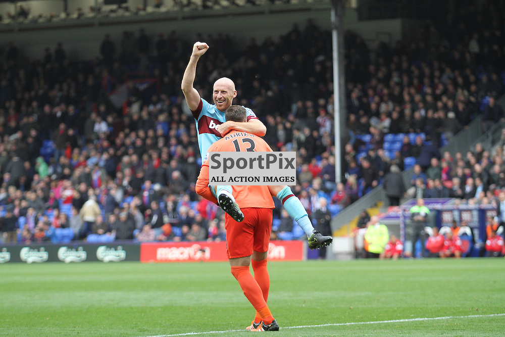 Hammers James Collins and keeper Adrian Celebrate their 3-1 win over Palace at Selhurst Park