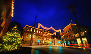 Christmas lights in historic Ellicott City, Maryland.