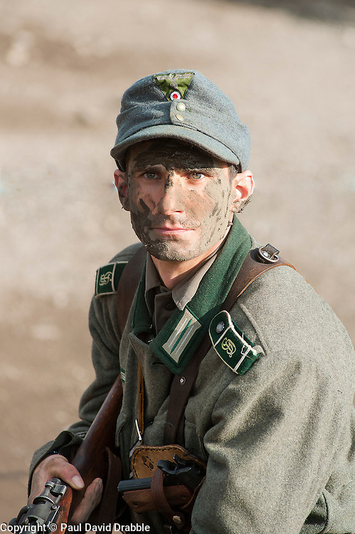 Reenactors Portray panzer grenadiers from the elite Gro&szlig;deutschland Division during the Pickering 1940s weekend in North Yorkshire<br /> October 2011 <br /> &copy; Paul David Drabble