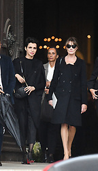 Farida Khelfa, Carla Bruni-Sarkozy leaving the funeral service for late photographer Peter Lindbergh held at Saint Sulpice church in Paris, France on September 24, 2019. Photo by ABACAPRESS.COM