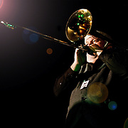 David Hall on trombone with Sleighriders Milwaukee live at Shank Hall. Photo by Jennifer Rondinelli Reilly. NO USE WITHOUT PERMISSION.