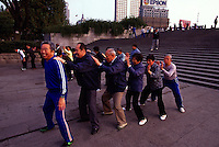 Early morning exercisers in Huangpu Park, Shanghai, China