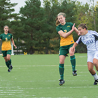 2nd year forward Kirsten Finley (2) of the Regina Cougars fights for possession during the Women's Soccer home game on September 11 at U of R Field. Credit: Arthur Ward/Arthur Images
