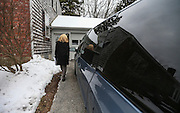 Heidi Cruz, wife of Republican presidential candidate Sen. Ted Cruz, R-Texas, goes door to door campaigning for her husband in Nashua, N.H. Friday, Jan. 8, 2016.  CREDIT: Cheryl Senter for The New York Times