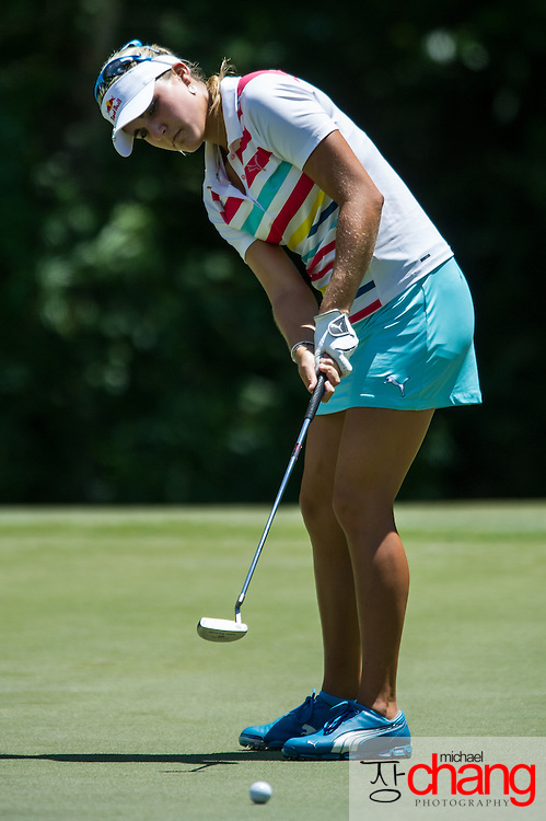 April 29 2012: Lexi Thompson hits her putt on the green of the 5th hole during the final round of the Mobile Bay LPGA Classic at Magnolia Grove in Mobile, AL.