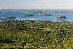 The view of Frenchman Bay from Cadillac Mountain in Maine USA
